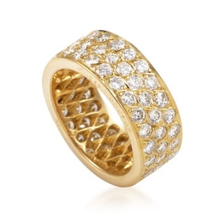 Van Cleef & Arpels Womens Yellow Gold Diamond Pave Eternity Band Ring