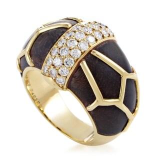 Boucheron Women's Yellow Gold Diamond & Wood Band Ring