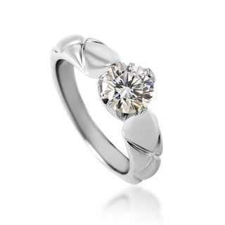Chanel Matelasse Womens Platinum 1.03ct Diamond Solitaire Engagement Ring