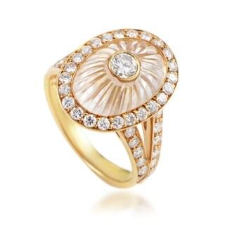 Boucheron Womens Yellow Gold Diamond and White Crystal Ring