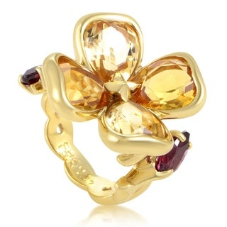 Chanel Women's Yellow Gold Citrine & Rhodolite Garnet Flower Ring