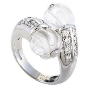 Boucheron Women's White Gold Diamond & Crystal Bypass Ring