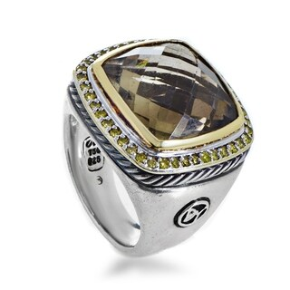David Yurman Women's Sterling Silver Yellow Diamond & Smoky Quartz Cocktail Ring