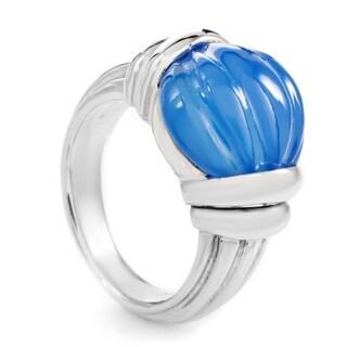 Boucheron Women's White Gold Carved Blue Jade Ring