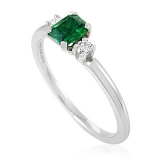 Pre-owned Tiffany & Co. Womens Platinum Diamond and Emerald Engagement Ring