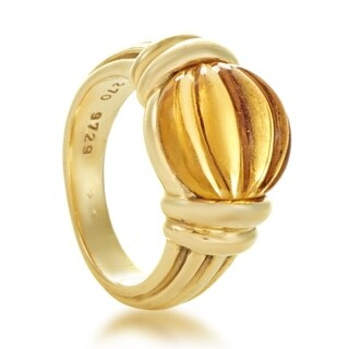 Boucheron Womens Yellow Gold Carved Citrine Ring