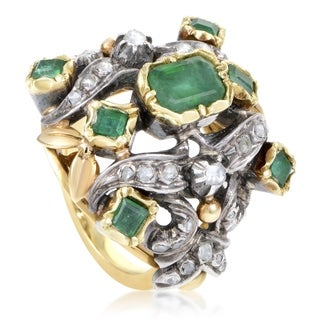Women's Antique Yellow Gold & Silver Precious Gemstone Cocktail Ring
