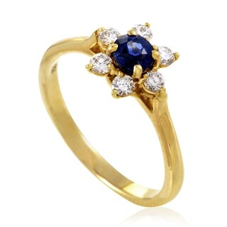 Pre-owned Tiffany & Co. Women's Yellow Gold Diamond & Sapphire Flower Ring