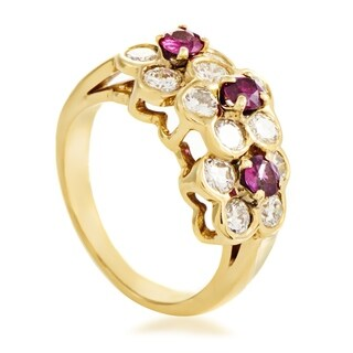 Van Cleef & Arpels Women's Yellow Gold Diamond & Ruby Flowers Band Ring
