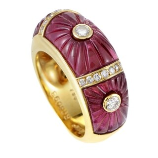 Cartier Women's Yellow Gold Diamond & Pink Tourmaline Band Ring