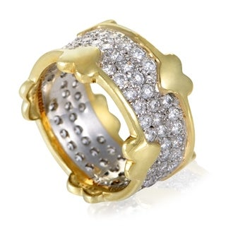 Pre-owned Tiffany & Co. Schlumberger Platinum and Yellow Gold Diamond Pave Band Ring
