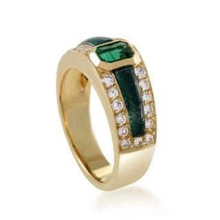 Scavia Womens Yellow Gold Diamond and Emerald Band Ring
