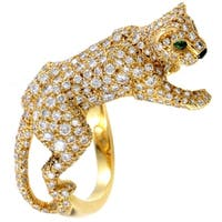 Cartier Panthere Womens Yellow Gold Full Diamond Pave Ring