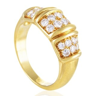 Van Cleef & Arpels Women's Yellow Gold Partial Diamond Pave Band Ring
