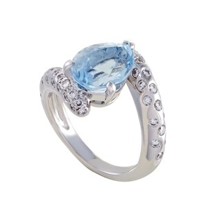 Chanel Womens White Gold Diamond and Aquamarine Ring