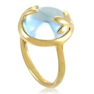 Pre-owned Tiffany & Co. Paloma Picasso Yellow Gold Topaz Olive Leaf Ring
