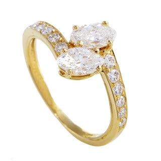Cartier Womens Yellow Gold Marquise and Round Diamond Ring