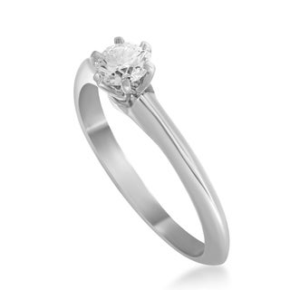 Pre-owned Tiffany & Co. Womens Platinum .23ct Diamond Solitaire Engagement Ring