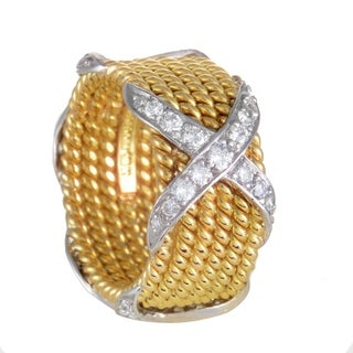 Tiffany & Co. Schlumberger Womens Yellow and White Gold Diamond X Ring