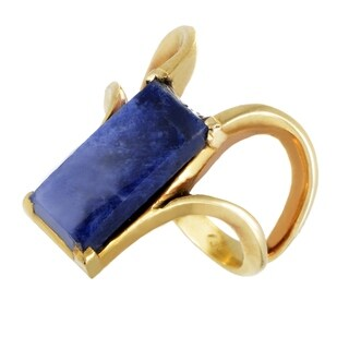 Ilias Lalaounis Womens Yellow Gold Rectangular Sodalite Ring