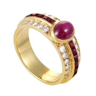 Van Cleef & Arpels Womens Yellow Gold Diamond and Ruby Ring