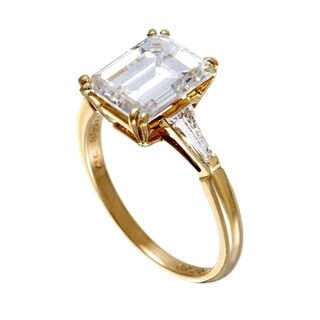 Boucheron Yellow Gold Tapered Baguette and Emerald Cut Diamond Engagement Ring