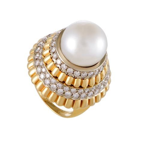 Yellow and White Gold Diamond and 14.3mm South Sea Pearl Cocktail Ring