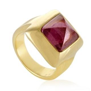 Pomellato Womens Yellow Gold Pink Tourmaline Pyramid Ring