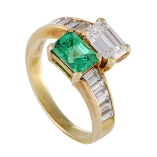 Kutchinsky Womens Yellow Gold Diamond and Emerald Ring