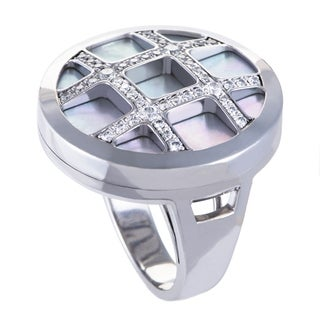 Cartier Pasha Womens White Gold Diamond and Mother of Pearl Cocktail Ring
