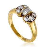 Van Cleef & Arpels Womens Vintage Yellow Gold Diamond Bow Ring