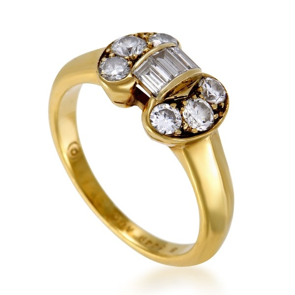 ee86e614d0046 Shop Van Cleef   Arpels Womens Vintage Yellow Gold Diamond Bow Ring ...