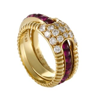 Dior Womens Yellow Gold Diamond and Ruby Insert Band Ring Set
