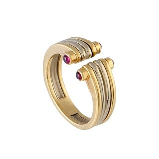 Van Cleef & Arpels Vintage Yellow and White Gold Ruby Band Ring