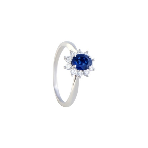 09872284c Pre-owned Tiffany & Co. White Gold Diamond and Sapphire Flower Ring