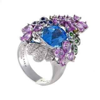 Womens White Gold Diamond Sapphire and Topaz Cocktail Ring