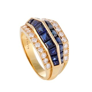 Yellow Gold Diamond Pave and Invisible Set Sapphire Ring