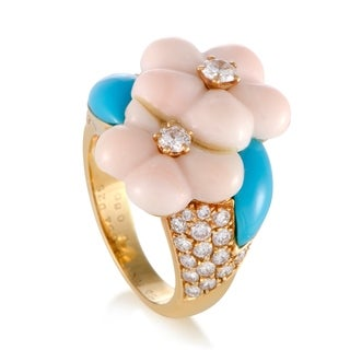Yellow Gold Diamond Coral and Turquoise Flower Ring