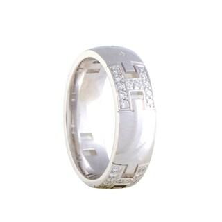 Hermès White Gold Diamond Pave Hercules Band Ring