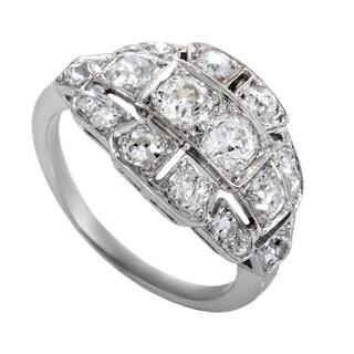 Womens Antique Platinum Round Diamond Ring