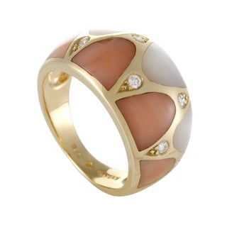 Kabana Womens Yellow Gold Diamond Coral and Mother of Pearl Band Ring