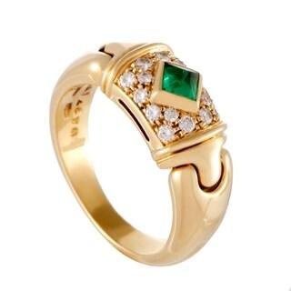 Bvglari Yellow Gold Diamond Pave and Emerald Band Ring