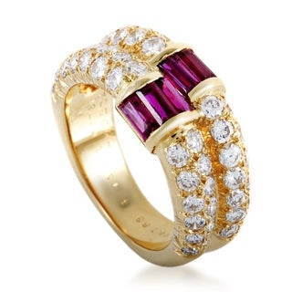 Van Cleef & Arpels Yellow Gold Diamond Pave and Baguette Ruby Double Band Ring