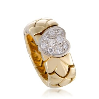 Pomellato Yellow and White Gold Diamond Pave Heart Band Ring