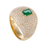 Yellow Gold Full Diamond Pave and Emerald Bombe Ring