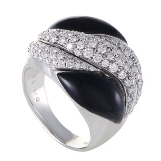 Picchiotti Womens White Gold Diamond Pave Onyx Cocktail Ring