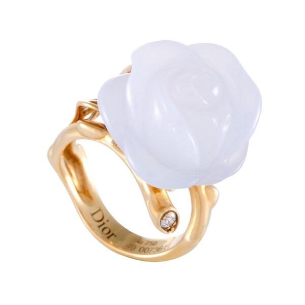 98ca61e88f Shop Dior Pré Catalan Yellow Gold Diamond and Blue Chalcedony Rose ...