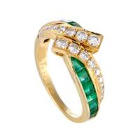 Yellow Gold Diamond and Emerald Invisible Set Band Ring