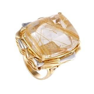 Platinum and Yellow Gold Rectangular Rutilated Quartz Ring