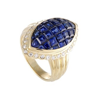 Yellow Gold Diamond and Invisible Set Sapphire Cocktail Ring